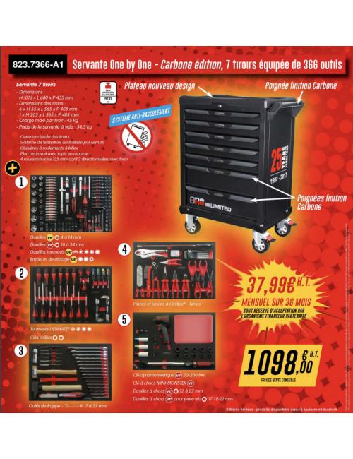 Servante One by One 7 tiroirs édi. limitée 25 ans équipée 366 outils