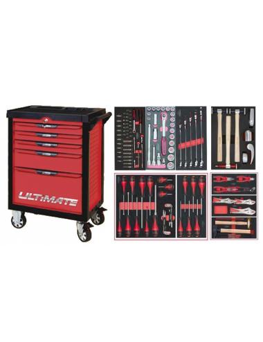 Servante ULTIMATE 5 tiroirs avec composition d'outils pour la carross