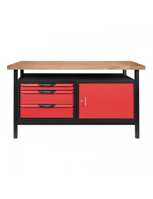 Etabli professionnel d'atelier 1 porte et 3 tiroirs, L. 1,4m