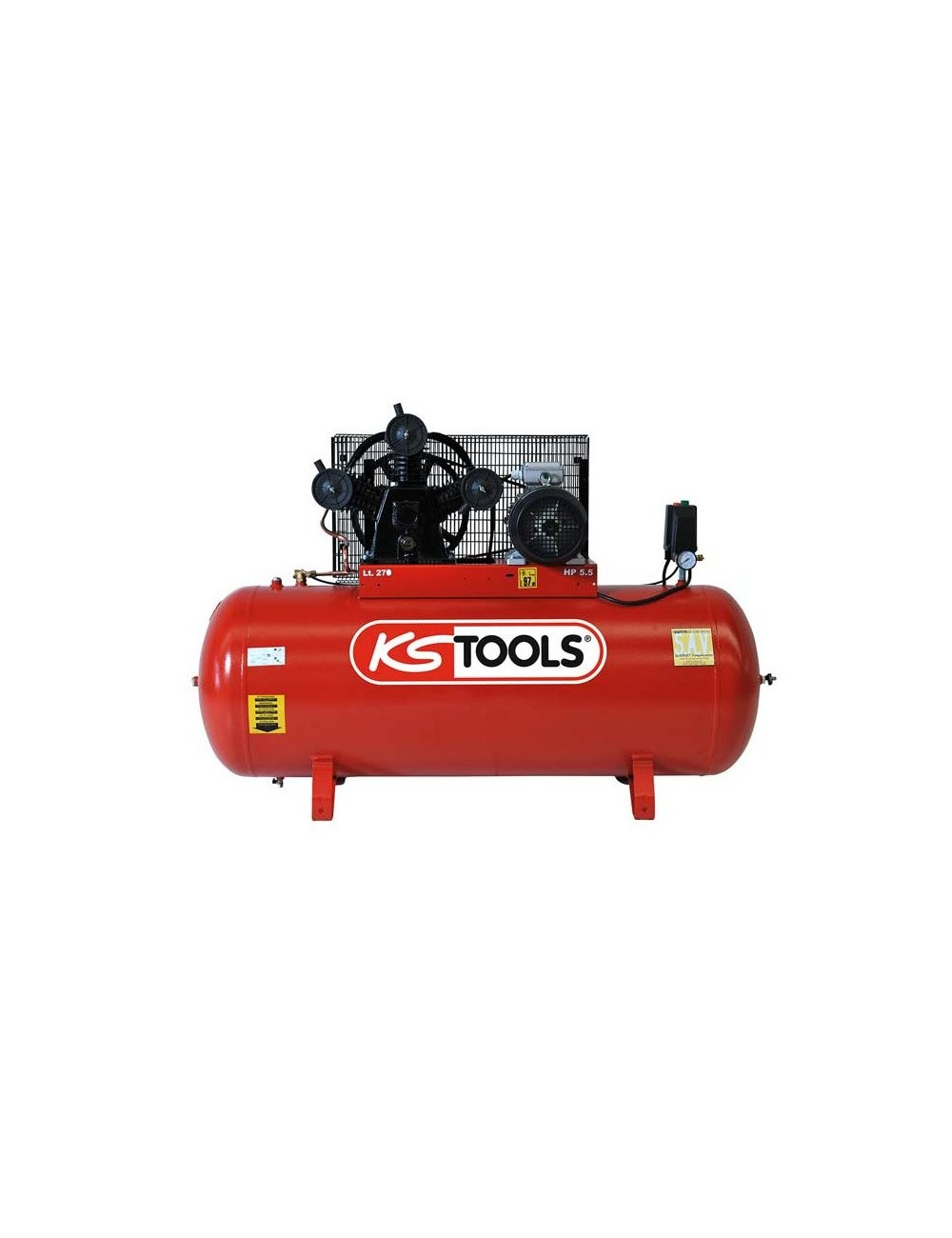 Compresseur sur cuve 270L - 10 bars - 5,5 CV - 380V tri