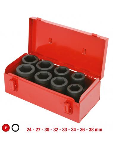Coffret de douilles longues à chocs 1'', 24 à 38 mm