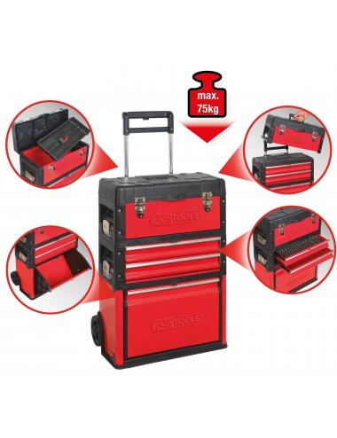 Servante mobile en métal/pvc à 4 compartiments 72x52x32cm