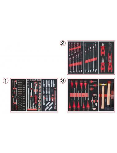Composition d'outils 3 tiroirs pour servante, 158 pièces