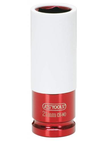 Douille à chocs 1/2'', revêtement ABS pour jantes aluminium, 21 mm