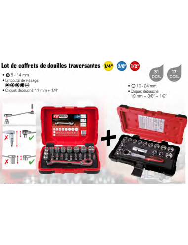Lot de coffrets de douilles traversantes 1/4'' - 3/8'' - 1/2''