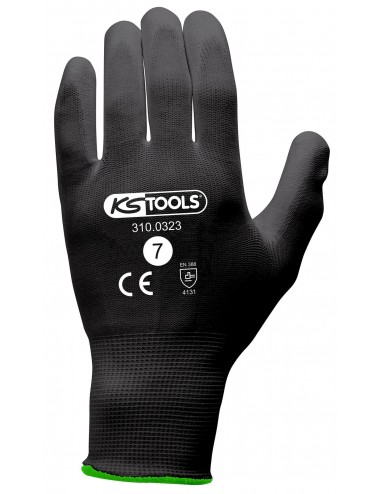 Gants de protection microfibres noirs, T.7, 12 paires