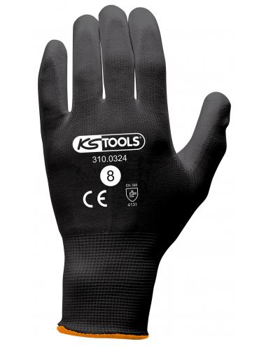 Gants de protection microfibres noirs, T.8, 12 paires