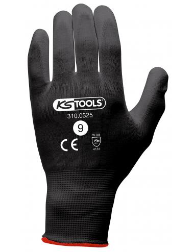 Gants de protection microfibres noirs, T.9, 12 paires