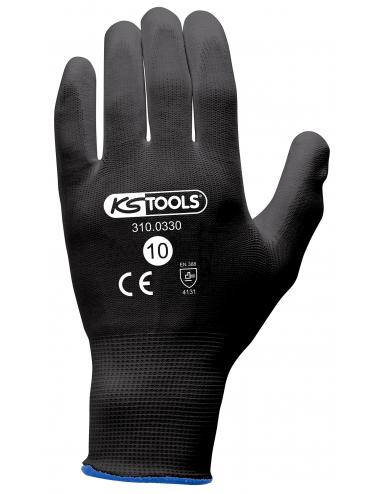 Gants de protection microfibres noirs, T.11, 12 paires