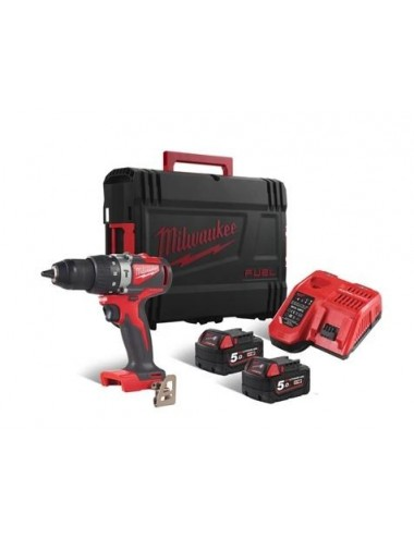 Perceuse MILWAUKEE à percussion 18V, 5,0Ah, 85 Nm,Coffret, 2 Bat. Red+ Chargeur