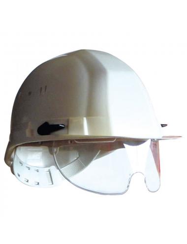 Casque de protection blanc avec lunettes intégrées