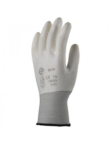 Gants polyester blanc, paume end.PU blanc T09
