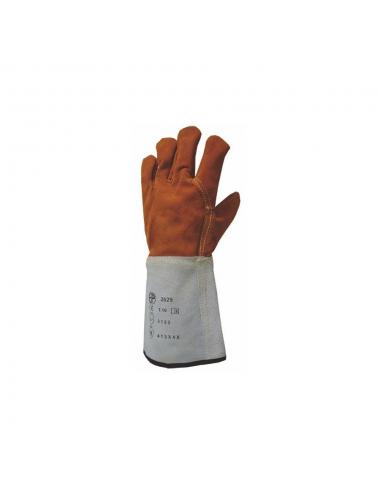 Gants de protection tout croûte vach. doublé molleton, m.15 cm