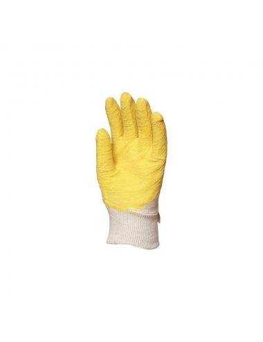 Gants en latex crêpé jaune dos aéré