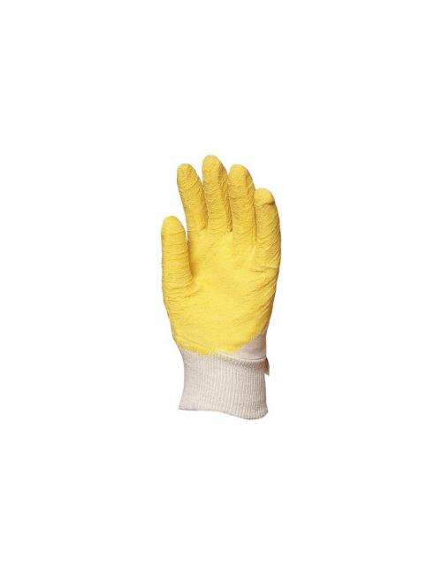 Gants latex crêpé jaune dos aéré