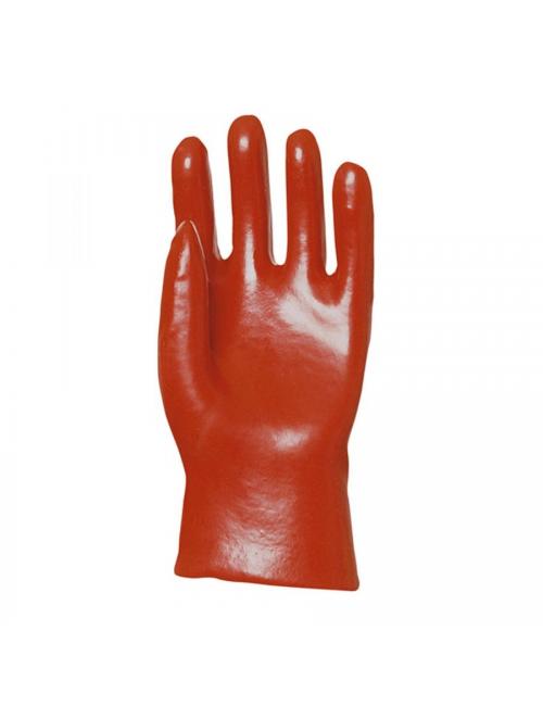 Gants de protection PVC rouge enduit, modèle standard, 27 cm