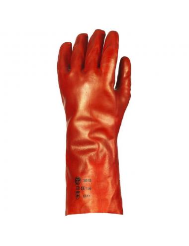 Gants de protection PVC rouge enduit, modèle standard, 36 cm