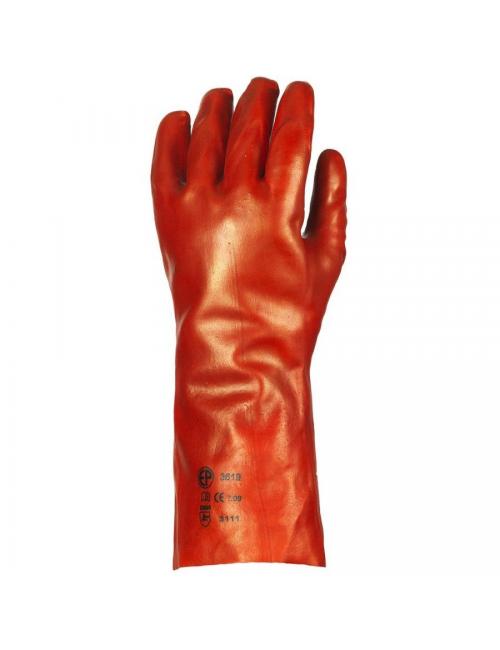Gants PVC rouge enduit, modèle standard, 36 cm