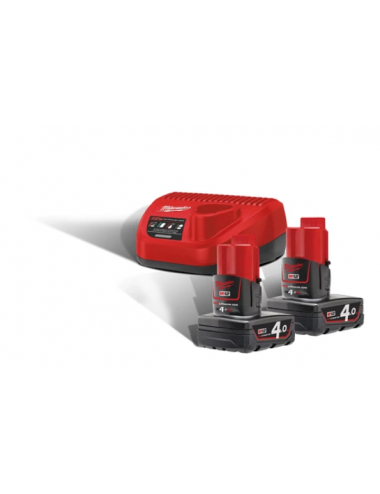 Pack NRJ 12V, 4,0 Ah  Red Lithium - système M12 -2 Batteries MILWAUKEE +Chargeur