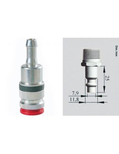Coupleur cannelé pour tuyau Ø8 mm Euro