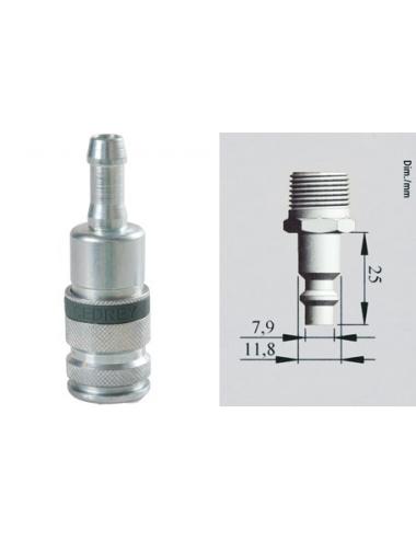 Coupleur rapide cannelé pour tuyau Ø8 mm
