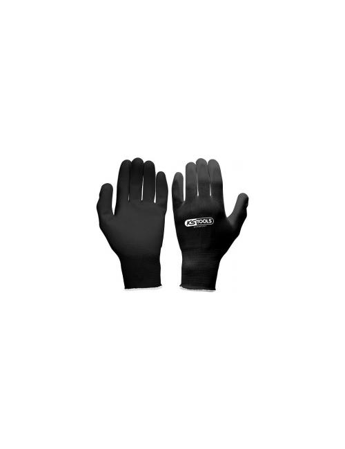 Gants microfibres, noirs, XL, 12paires